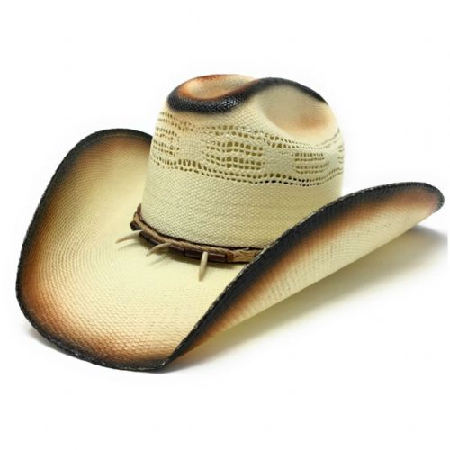 Cream/Brown Straw Cowboy Hat - Gator